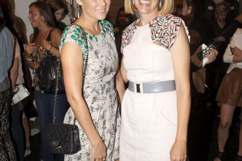 TV personality and designer Lauren Conrad (L) and designer Lela Rose pose backstage at the Lela Rose Spring/Summer 2013 collection during New York Fashion Week September 9, 2012.