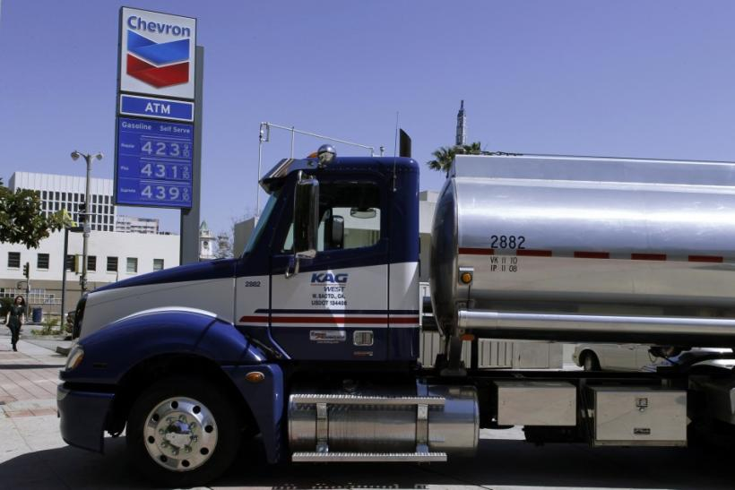 A gasoline tanker is seen parked at a Chevron petrol station in Los Angeles, California