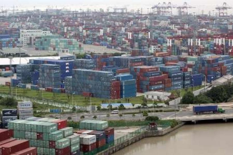 A general view of a container port in Shanghai