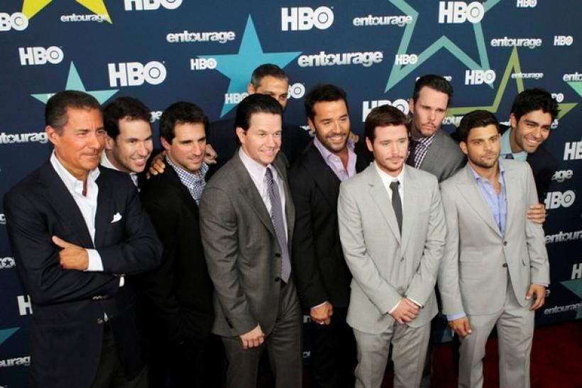 The cast of HBO's 'Entourage' pose during arrivals at the premiere