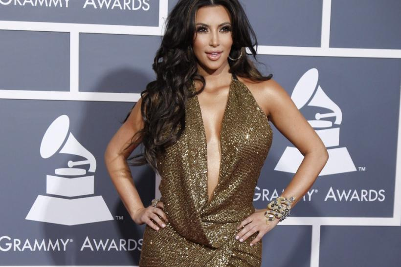 Kim Kardashian arrives at the 53rd annual Grammy Awards in Los Angeles