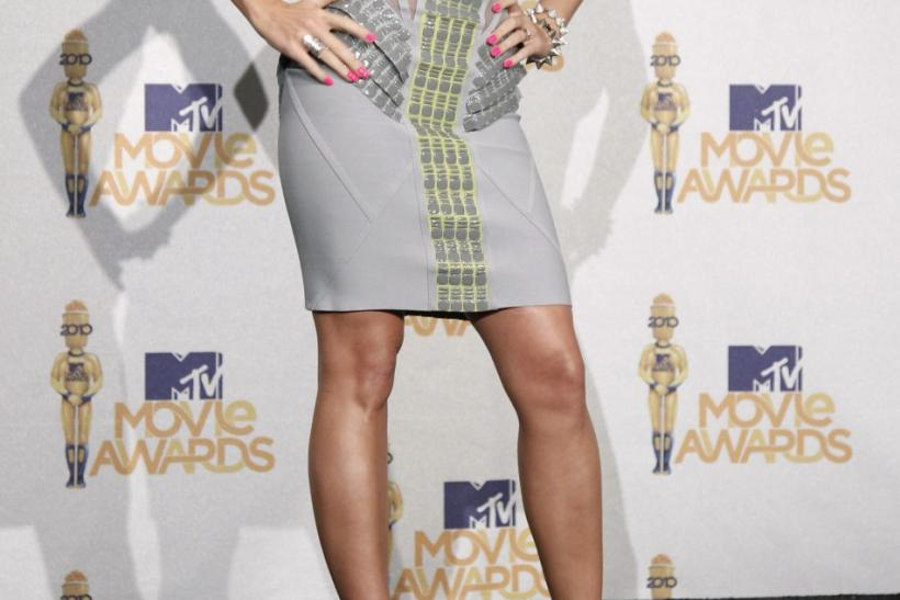 Katy Perry poses backstage after performing at the 2010 MTV Movie Awards in Los Angeles