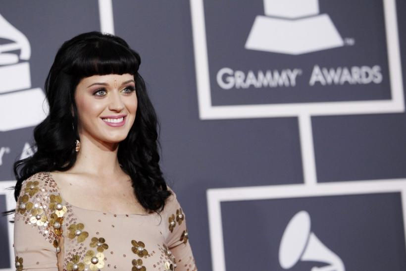 Nominee Perry poses on the red carpet at the 52nd annual Grammy Awards in Los Angeles