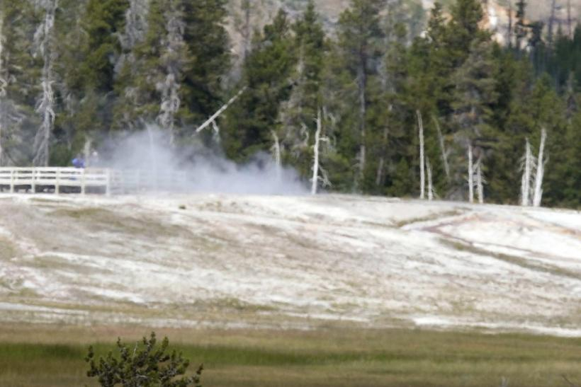 U.S. President Barack Obama visits Old Faithful Geyser in Yellowstone National Park in Wyoming