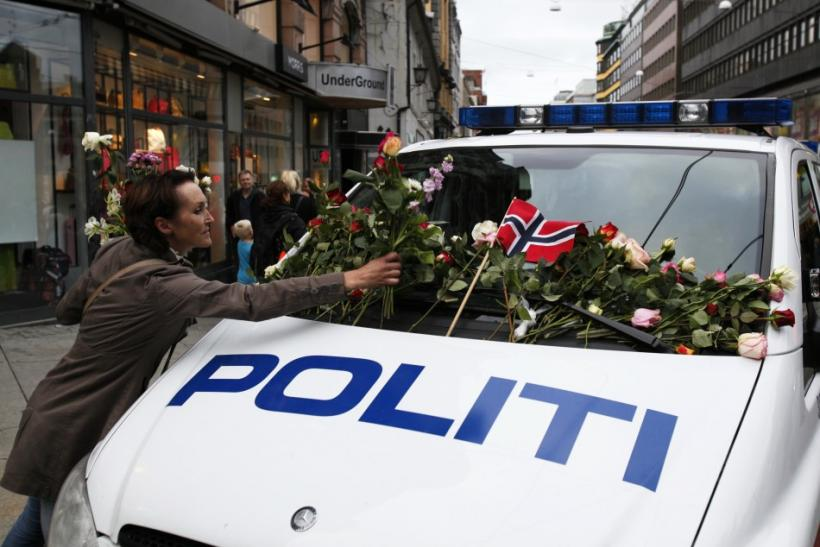 Flowers placed on police vehicle