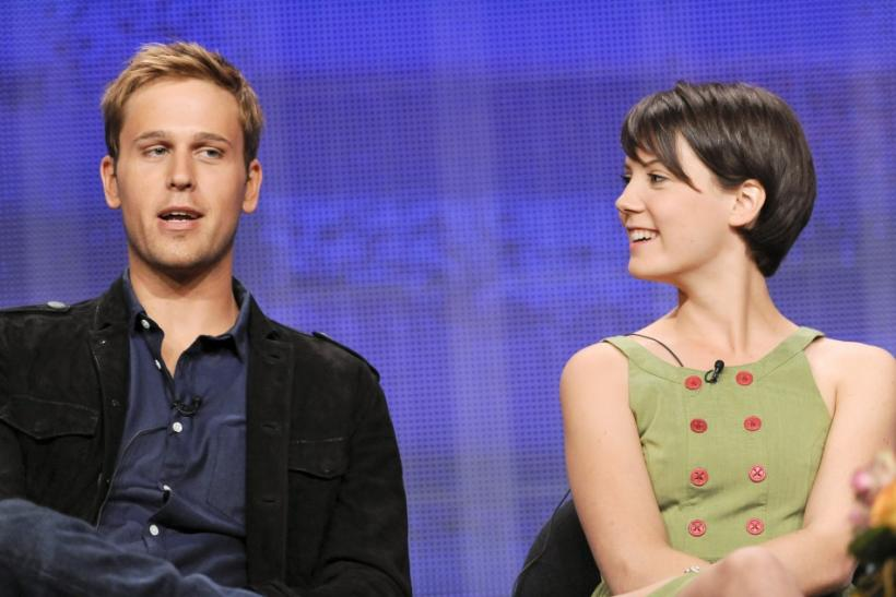 "Actors Dan Amboyer (L) and Alice St. Claire (R) from the television show ""William & Catherine: A Royal Romance"" take part in a panel discussion during the Hallmark Channel portion of the Press Tour for the Television Critics Association in Bever"