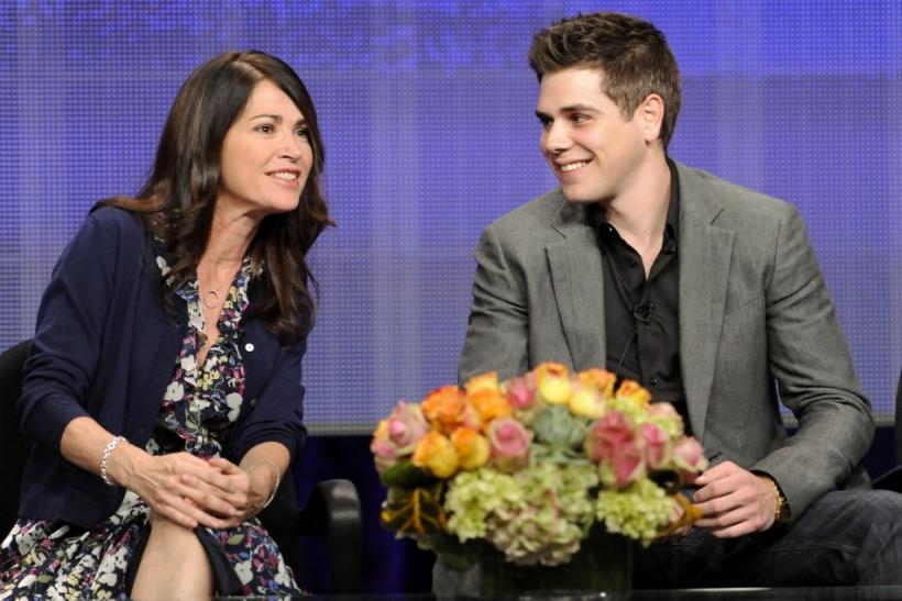 "Actors Kim Delaney (L) and Jared Abrahamson (R) from the television show ""Finding a Family"" take part in a panel discussion during the Hallmark Channel portion of the Press Tour for the Television Critics Association in Beverly Hills, California"
