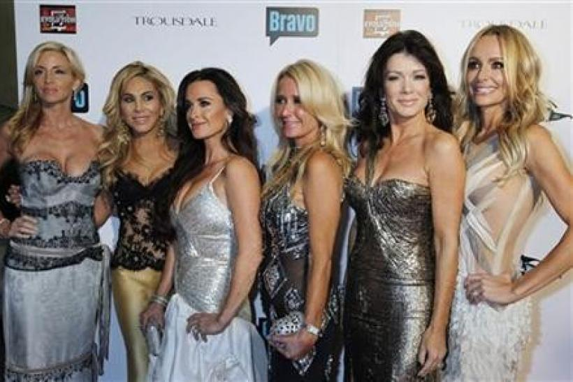 The cast of Bravo's new reality series ''The Real Housewives of Beverly Hills'' Camille Grammer, Adrienne Maloof, Kyle Richards, Kim Richards, Lisa Vanderpump and Taylor Armstrong (L-R) pose at the premiere party in Los Angeles