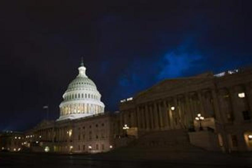 Storm clouds gather above the U.S. Capitol in Washington