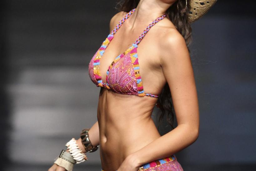A model presents a creation by Colombian brand Leonisa during the Colombiamoda fashion show in Medellin
