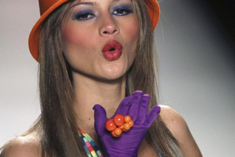 A model presents a creation by Spanish designer Agatha Ruiz de la Prada during the Colombiamoda fashion show in Medellin