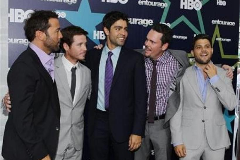 Actors (L-R) Jeremy Piven, Kevin Connolly, Adrian Grenier, Kevin Dillon and Jerry Ferrara arrive at the premiere of HBO's final season of 'Entourage' in New York