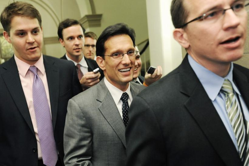 Cantor departs a meeting about debt ceiling legislation with fellow Republicans at the U.S. Capitol in Washington