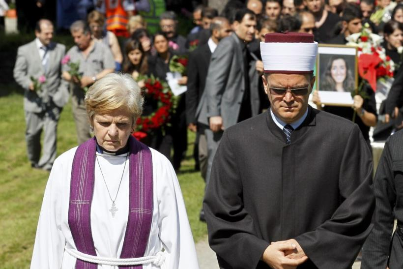 Tronvik and Kobilica lead the funeral ceremony of Rashid at Nesodden church near Oslo