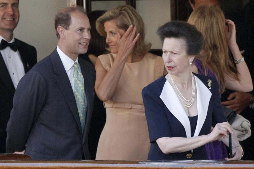 Britain's Prince Edward (L), his wife Sophie, Countess of Wessex and Princess Anne leave a drinks reception on the royal yacht Brittania in Edinburgh, Scotland