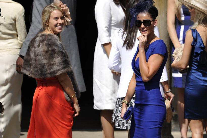 Unidentified guests arrive before the marriage of Britain's Zara Phillips