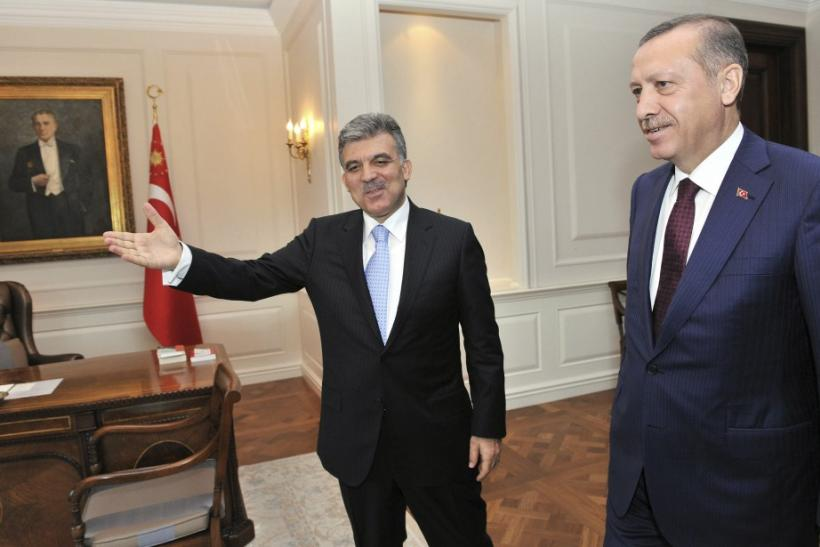 urkey's President Gul receives Prime Minister Erdogan at the Presidential Palace of Cankaya in Ankara