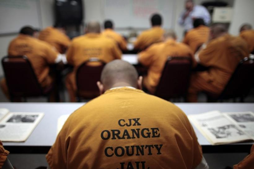 Inmates sit in a classroom at the Orange County jail in Santa Ana, California
