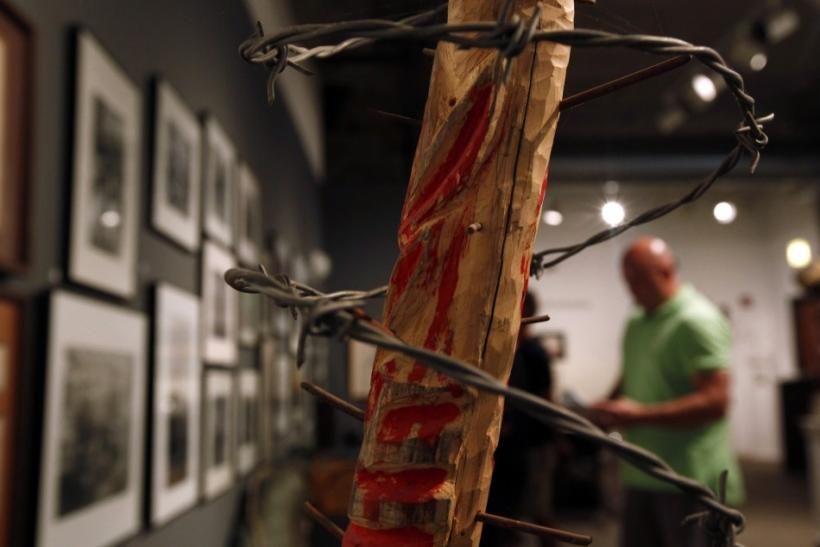 A man tours the exhibit at the National Veterans Art Museum in Chicago