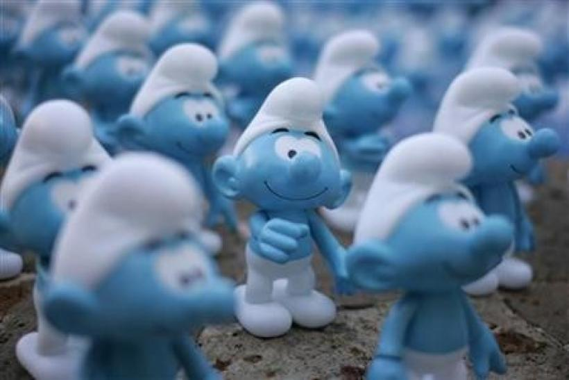 Smurfs figurines are displayed on a fountain during a photocall for the film ''The Smurfs'' in Cancun
