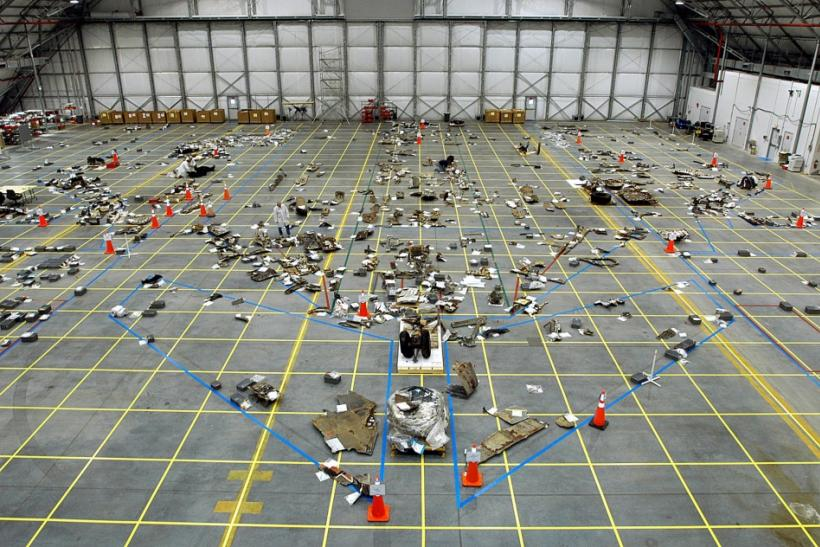 NASA handout photo of Columbia debris in a hanger at Kennedy Space Center