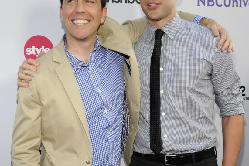 Actors Ed Helms (L) and John Krasinski attend the NBC Universal Press Tour All-Star Party in Beverly Hills, California
