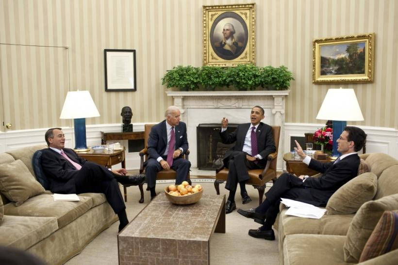 President Barack Obama and Vice President Joe Biden meet with House Speaker John Boehner and House Majority Leader Eric Cantor in the Oval Office at the White House in Washington