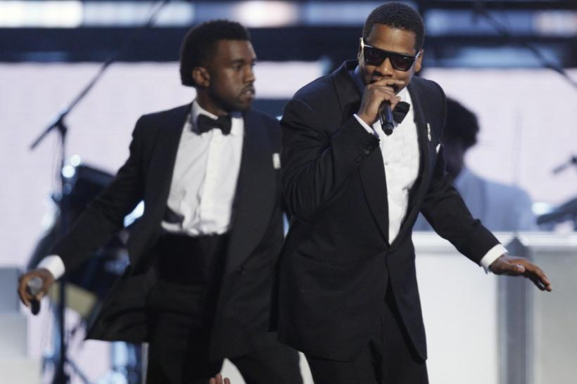 Jay-Z (R) and Kanye West (L) perform