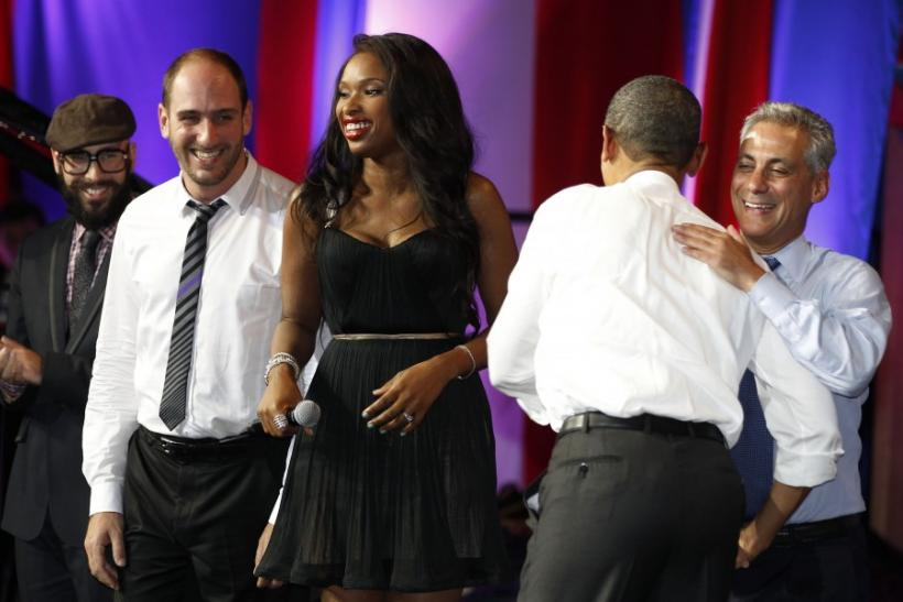 US President Obama is hugged by Chicago Mayor Emanuel at Democratic fundraiser in Chicago