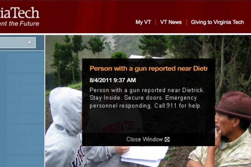 A screen capture of an alert posted on the website of Virginia Tech