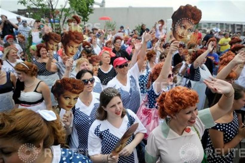 People take part in attempt to set a new Guinness world record for most Lucy Ricardo lookalikes assembled in one place, in Jamestown