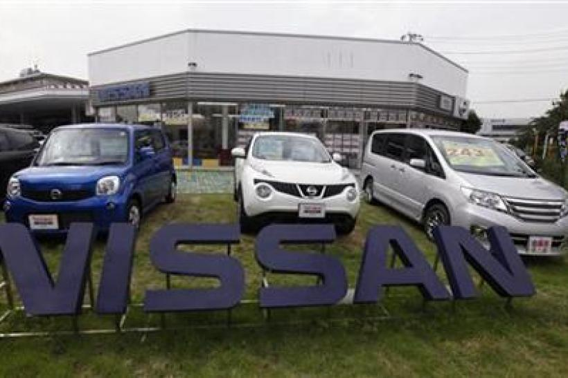 Nissan's cars are seen at a dealer shop in Tokyo