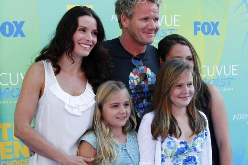 Scottish celebrity chef Gordon Ramsay (C) arrives with his family at the Teen Choice Awards in Los Angeles