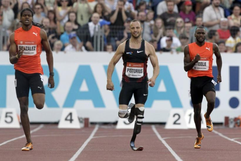 Athletes compete in 400 meters men's race at the IAAF World Challenge Ostrava Golden Spike meeting in Ostrava
