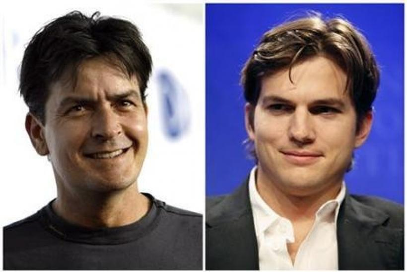 Actors Charlie Sheen (L) and Ashton Kutcher are seen in this combination file photograph