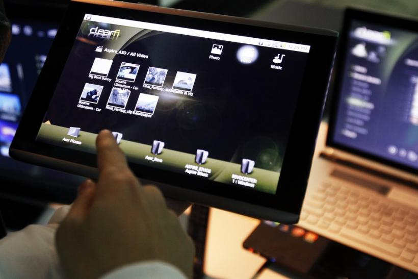 The Acer 10.10 Android full capacitive touch screen tablet is seen during a news conference in New York