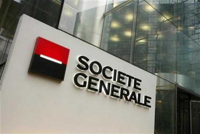 The logo of French bank Societe Generale is seen at the entrance of its headquarters in La Defense, outside Paris