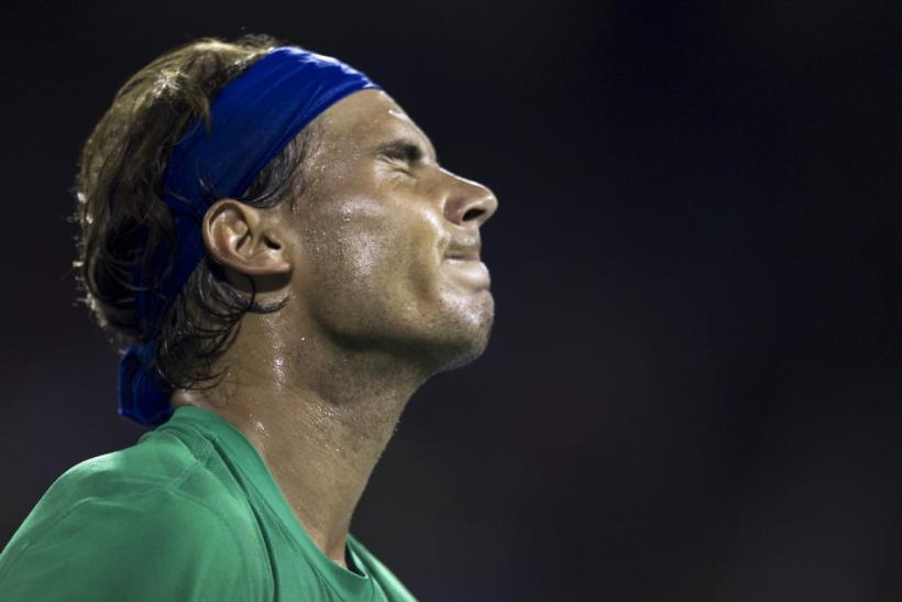 Spain's Nadal reacts during match against Croatia's Dodig at the Rogers Cup tennis tournament in Montreal