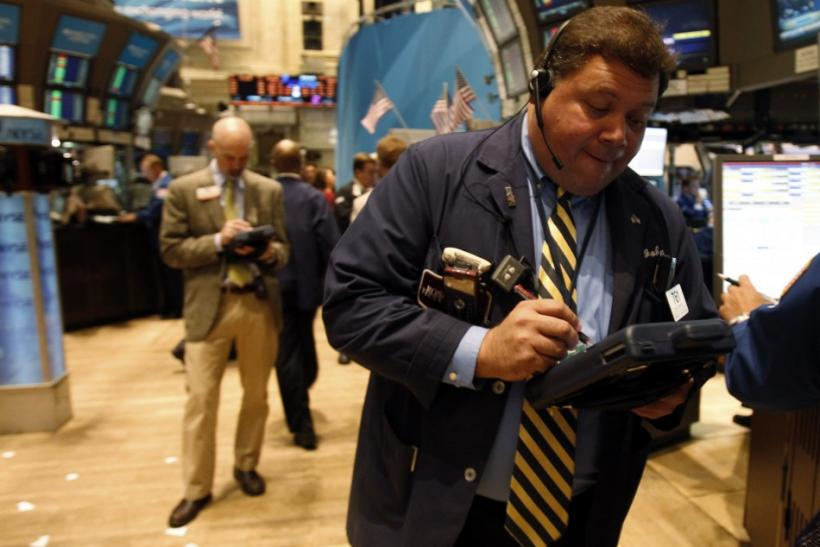 A specialist trader works on the floor of the New York Stock Exchange in New York