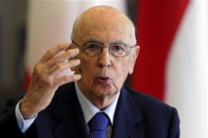 Italian President Napolitano answers questions from journalists during a news conference after his meeting with Croatian President Josipovic in Zagreb