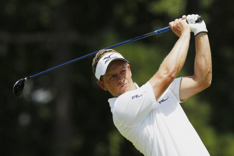 Britain's Luke Donald tees off on the second hole during the final round of the 93rd PGA Championship golf tournament at the Atlanta Athletic Club in Johns Creek