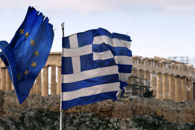 Greek And EU Flags At The Parthenon