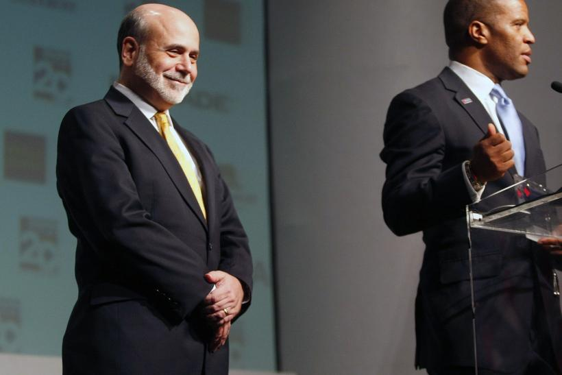 Bernanke being introduced at a speech Thursday.