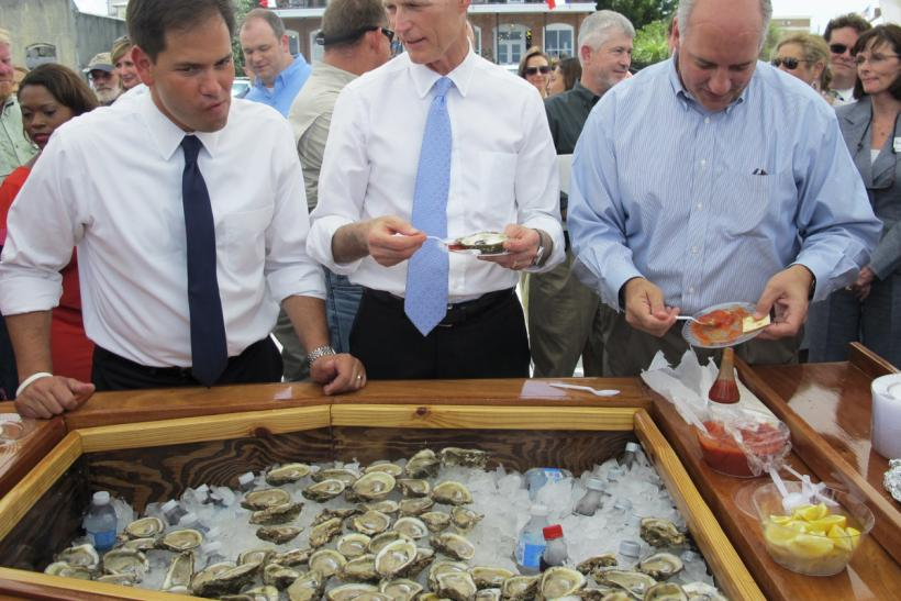 Sen. Marco Rubio and Gov. Rick Scott in Apalachicola, Florida