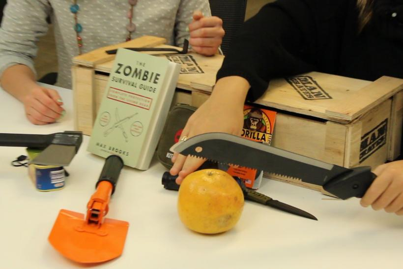 Zombie Survival Kit Complete With A Machete And Axe