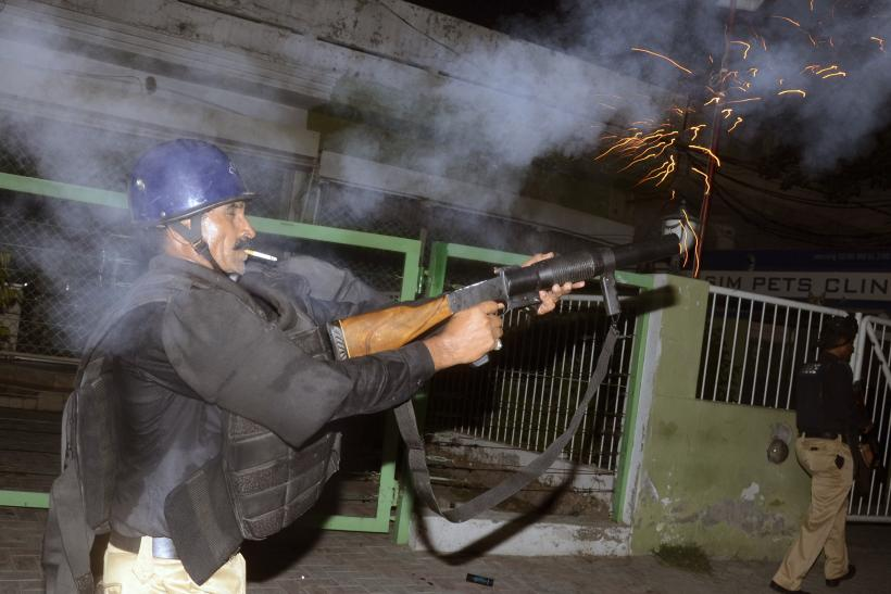 Lahore police firing on protesters