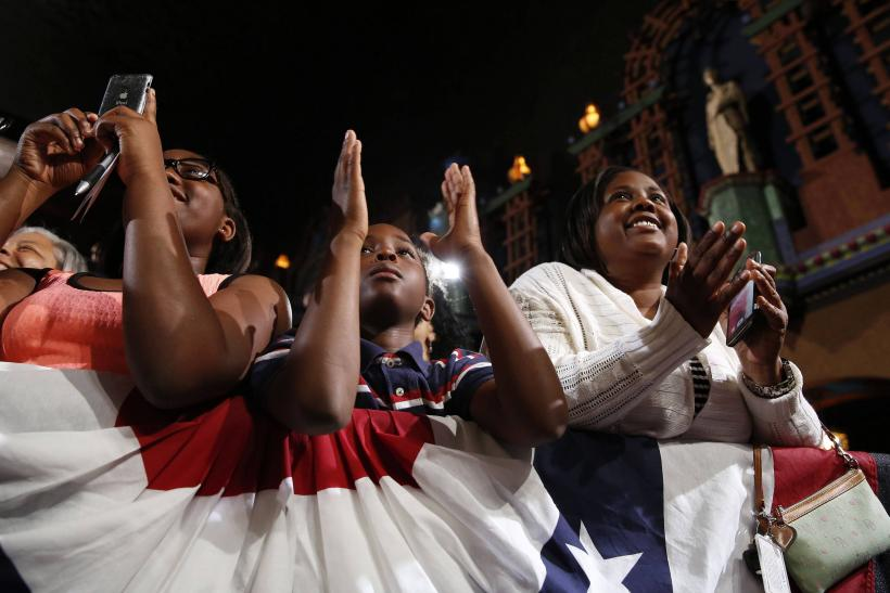Barack Obama Supporters Applaud-July 30, 2014