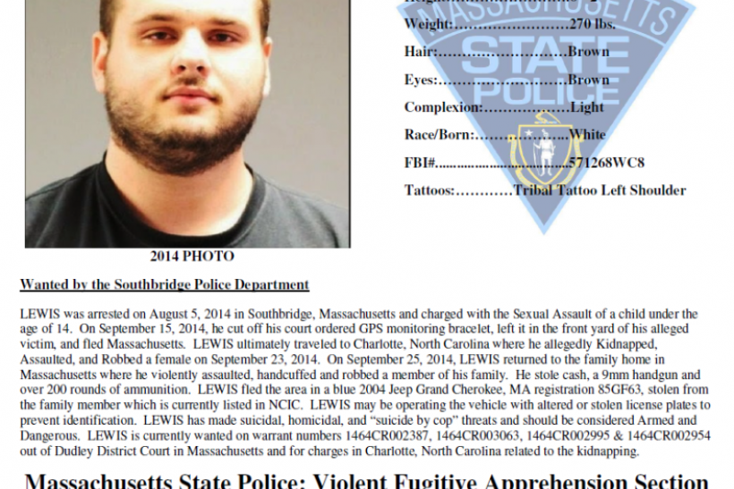 Gregory Lewis, Massachusetts Most Wanted list