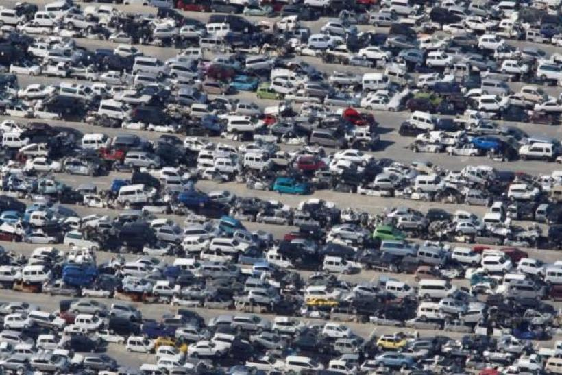 Cars crushed by earthquake and tsunami in 2011