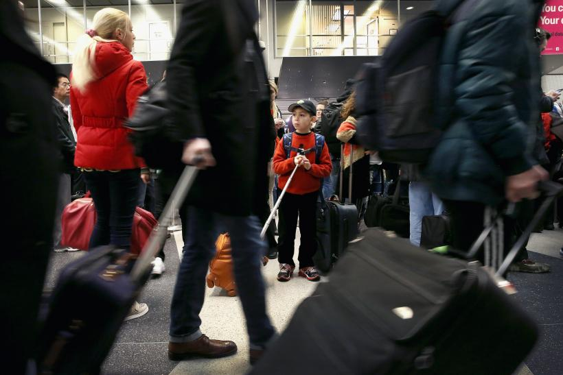 Christmas travel, airport crowds